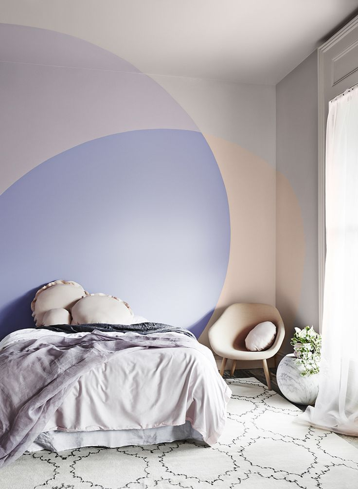 Peach And Purple Color Blocked Paint With Overlapping Effect Pastel Interior Dream Decor House Colors