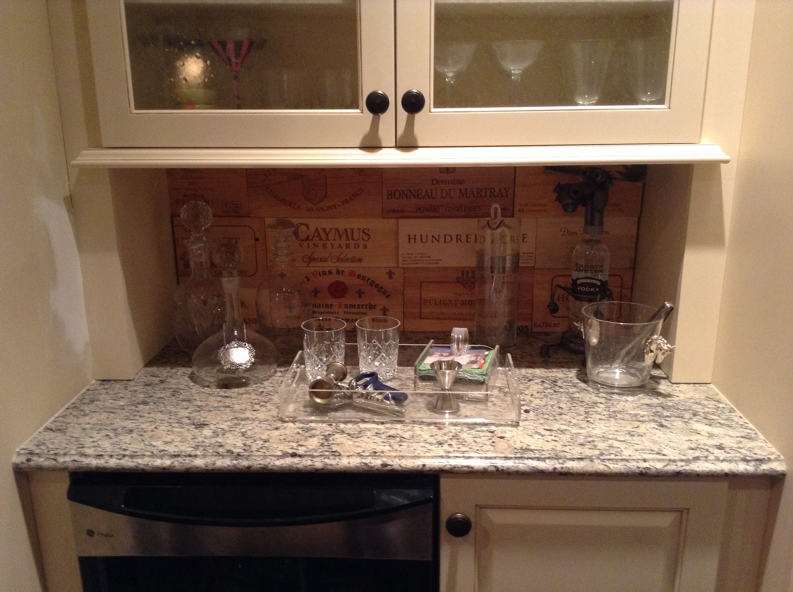 Wine Crate Boards Made Into Backsplash