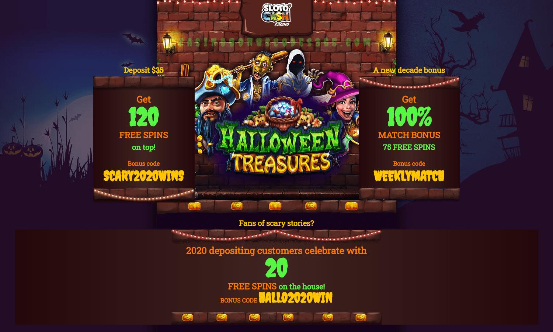 SlotoCash Casino January Halloween Treasures Weekly Match Bonus