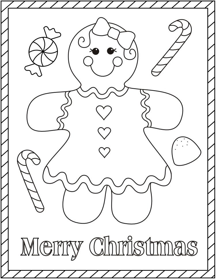 Gingerbread Girl Christmas Coloring Sheets Christmas Coloring