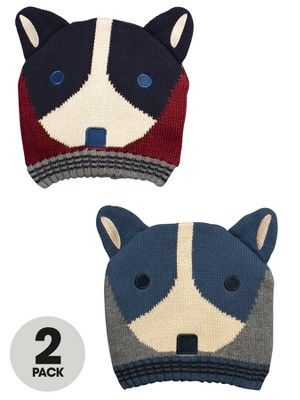 Ladybird Boys Knitted Dog Hats (2 Pack), http://www.littlewoods.com/ladybird-boys-knitted-dog-hats-2-pack/1298699875.prd