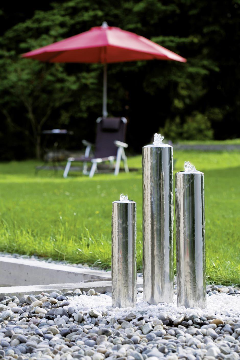 Fontaine jardin inox design tubes | Seliger spécialiste des ...