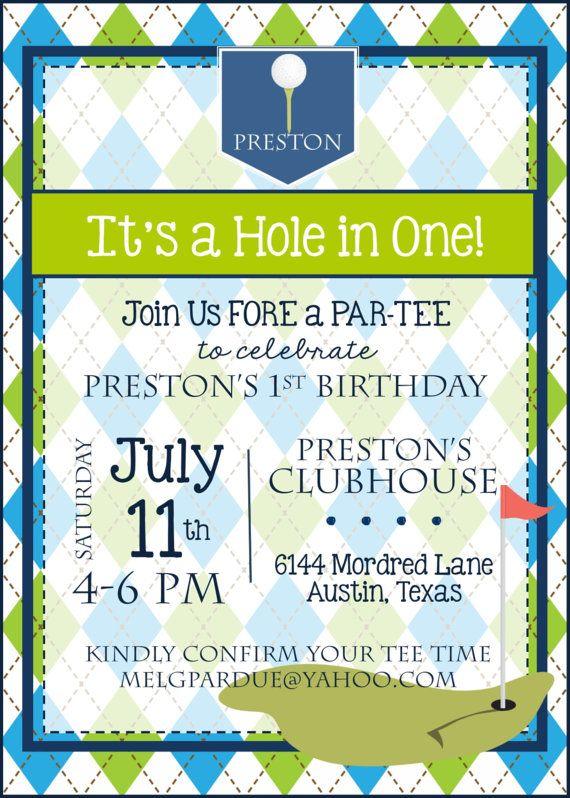 Golf Birthday Party Invitation - Golf First Birthday Party - invitation to a party