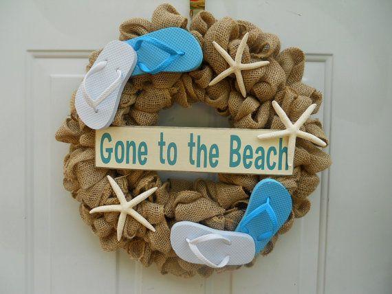 Flip Flop Burlap Beach themed wall or door by ChloesCraftCloset, $44.00