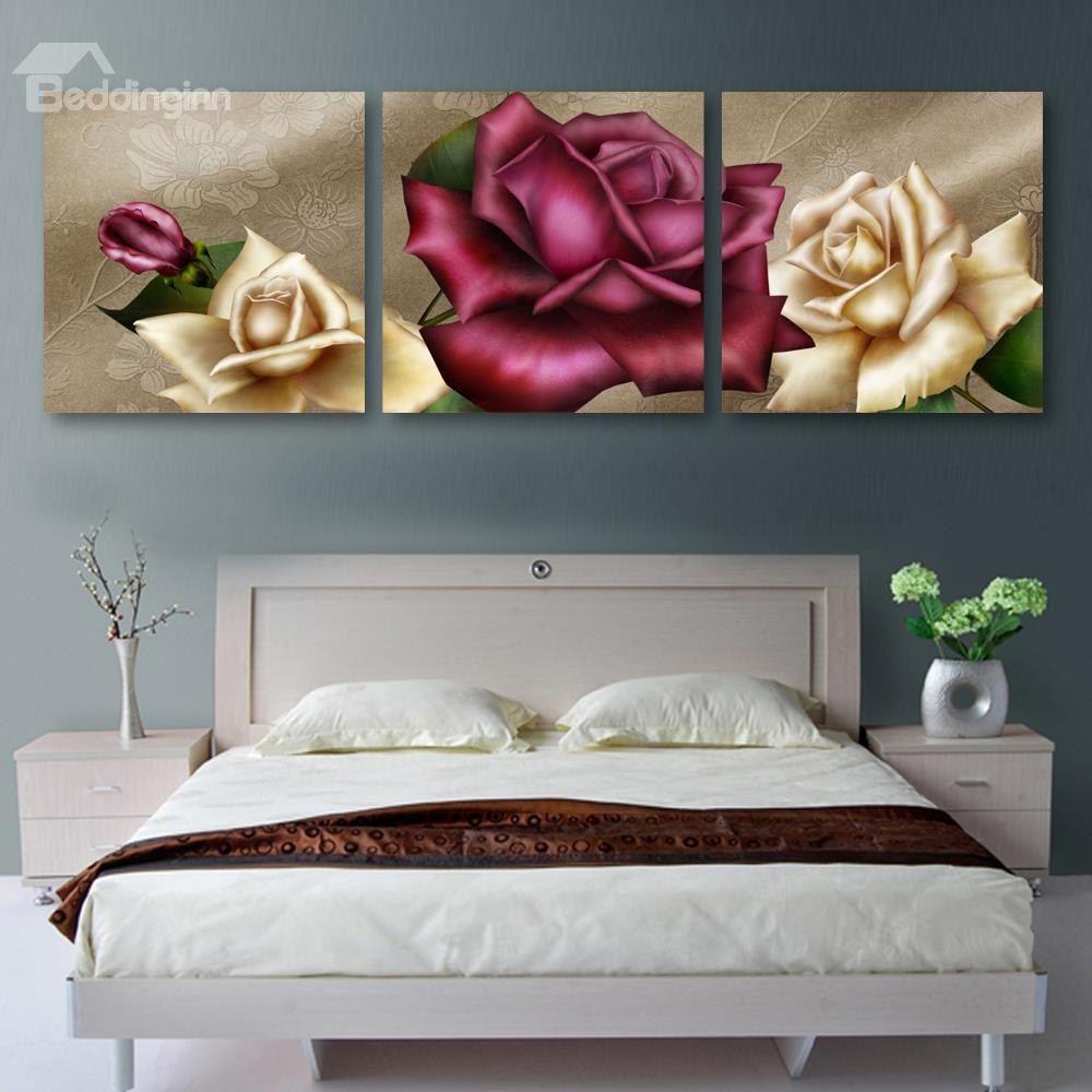 Graceful Roses Pattern 3 Panels Cross Film Wall Art Prints Cheap Wall Art Cheap Wall Art Prints Wall Art Prints