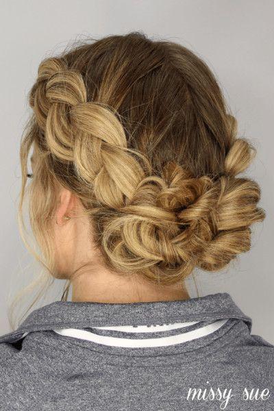 Dutch Braided Messy Bun Braided Prom Hair Greasy Hair Hairstyles Hair Styles