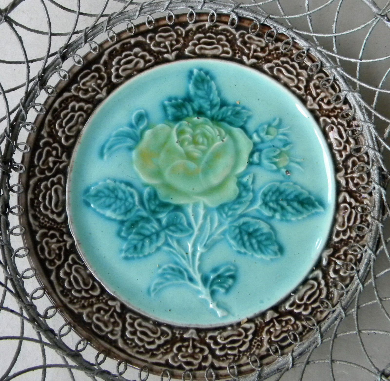 Antique MAJOLICA Plate Yellow Rose Flower WIRE BASKET Germany ...