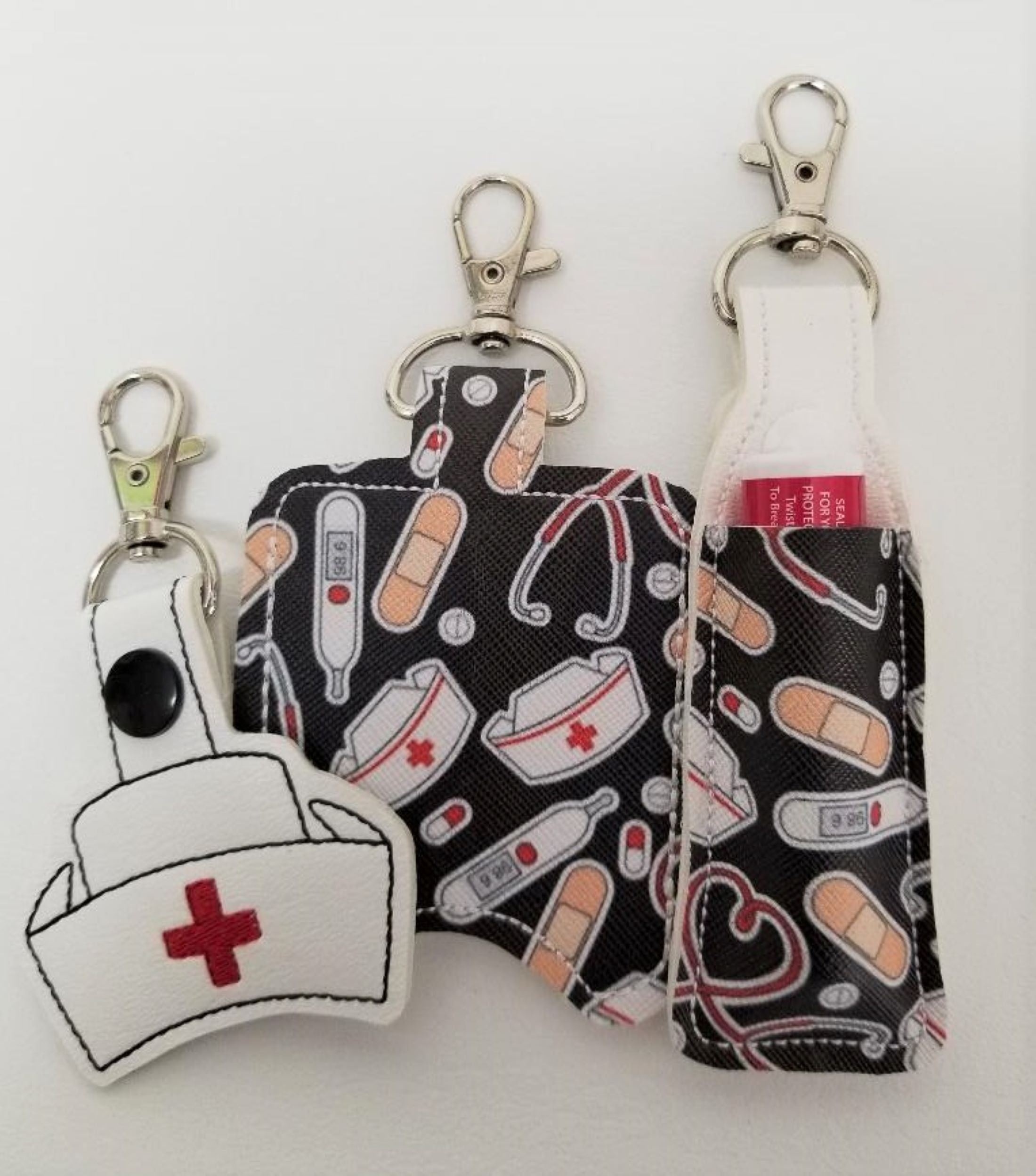 3 Piece Set Nurse Lip Balm Holder Key Chain Tag And Hand