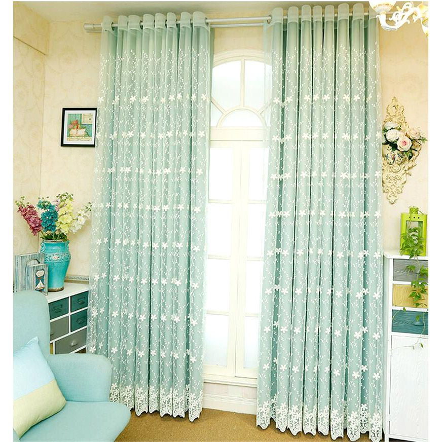 Light Green Lace Sheer Curtain With Solid Curtain ...