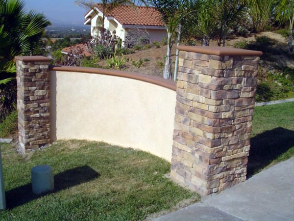 Stone and stucco wall for my spanish house pinterest for Concrete block stucco