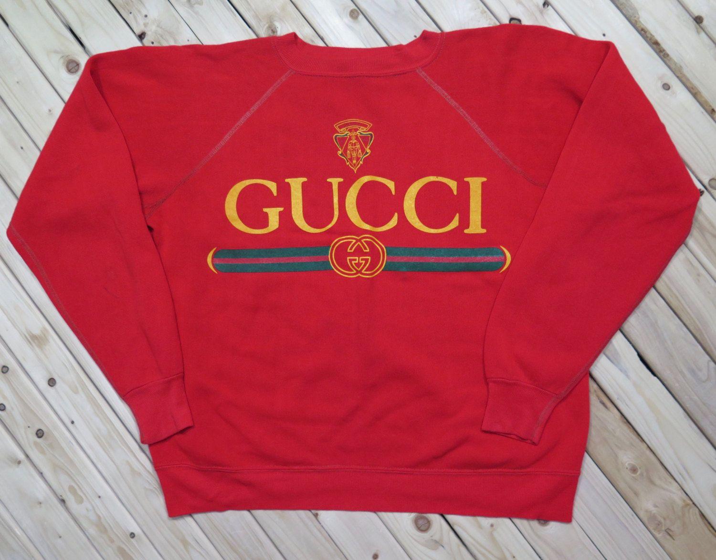 5af38ae2512504 Gucci Crewneck Vintage bootleg Sweatshirt by TwoGuysGoodBuys | Kate ...