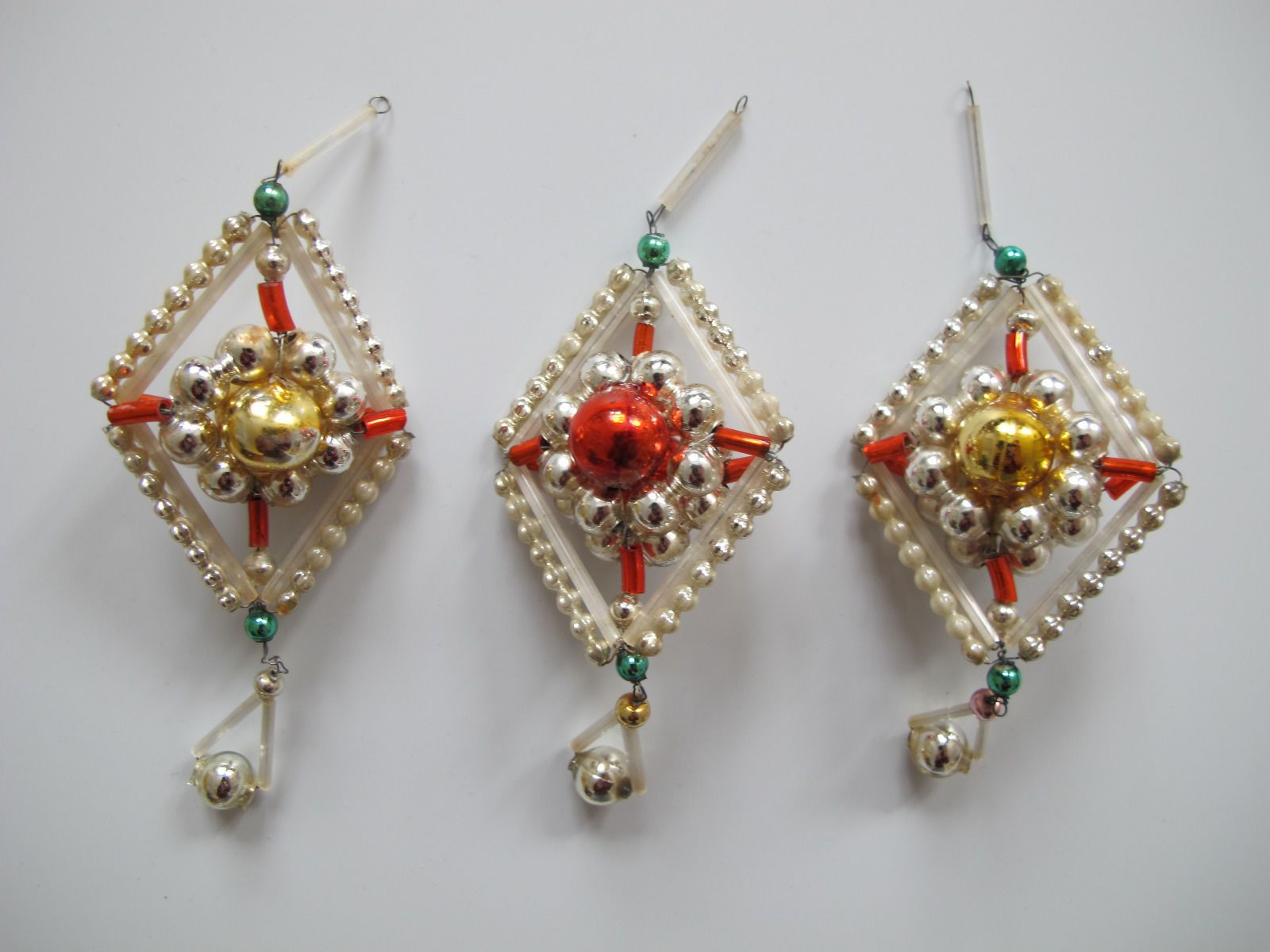3 Stück original antike Gablonzer Christbaumschmuck Objekte ...