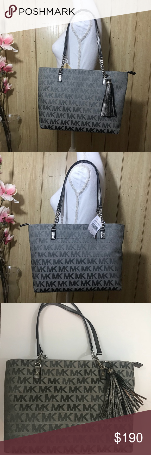 d15ae694cc7 Michael Kors Jet Set Tote Chain Tassel NWT EW Zip 100% Authentic Jet Set EW