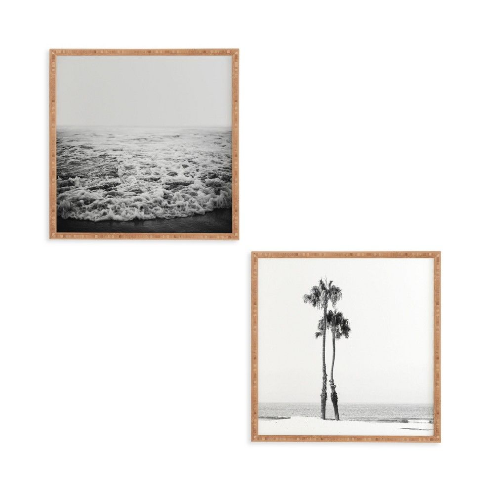 12 X12 2pc Two Palms Framed Decorative Wall Art Set White Deny