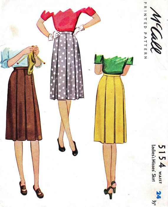 1940s  box pleated skirts | 1940s Skirt Pleat Detail Vintage Sewing Pattern McCalls 5154 c 1943 ...