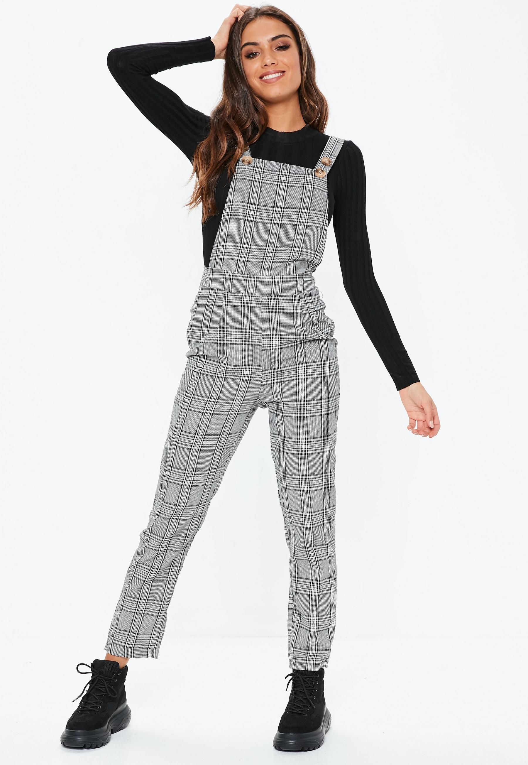 low cost 100% satisfaction guarantee latest fashion Missguided - Grey Check Dungarees | Fashion in 2019 ...