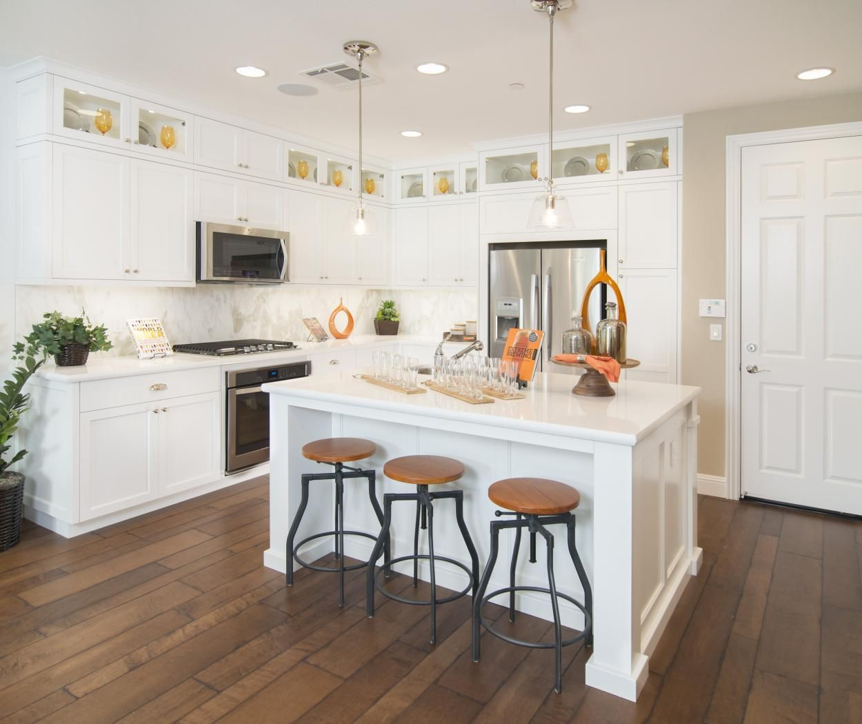 Transitional White Kitchen with Glass Doors, Puck Lights ...