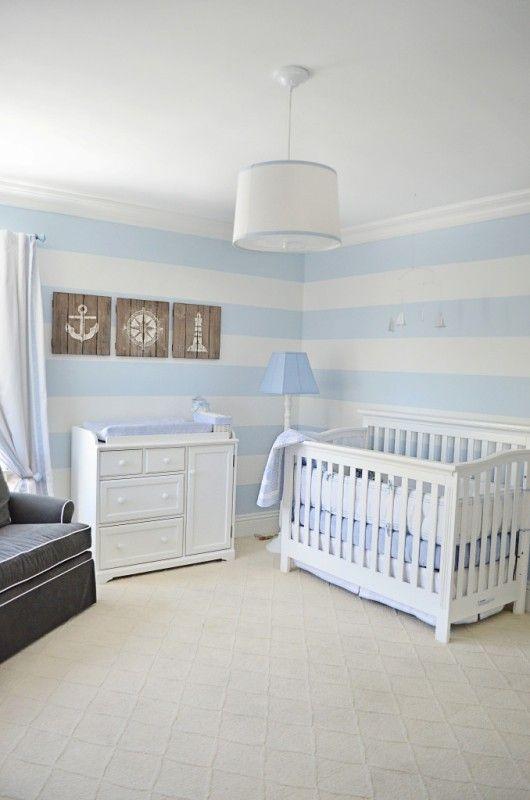 Nautical Baby Boy Nursery Room Ideas: Lovely Powder Blue And White