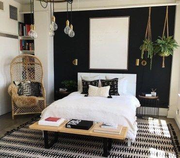 49 schöne schwarze Akzentwände Schlafzimmer Ideen - Wand Dekoration