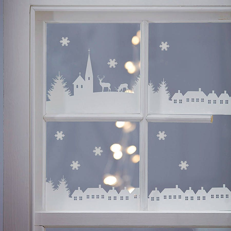 Christmas window decorations - A Lovely Christmas Village Scene To Add That Special Touch To Your Christmas Decorations