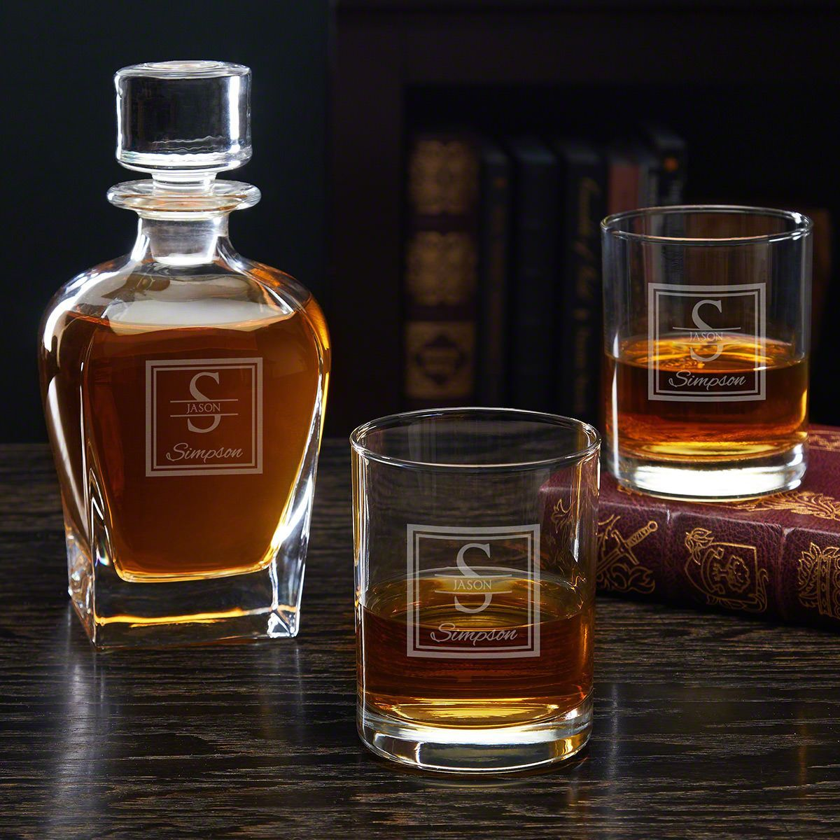Oakhill Etched Decanter Set With Rocks Glasses Personalized Whiskey Decanter Whiskey Decanter Set Whiskey Decanter