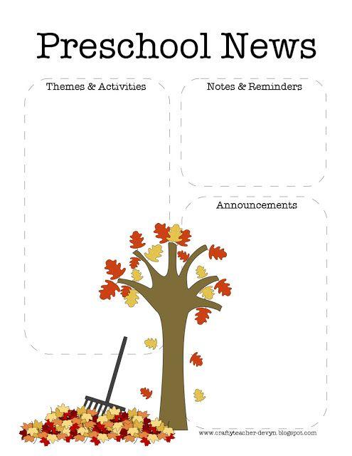 The Crafty Teacher Fall Preschool Newsletter Template  Preschool