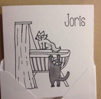 www.geboortekaartenonline.nl # letterpress  # craddle & cats # wiegje & katjes # info@geboortekaartenonline.nl