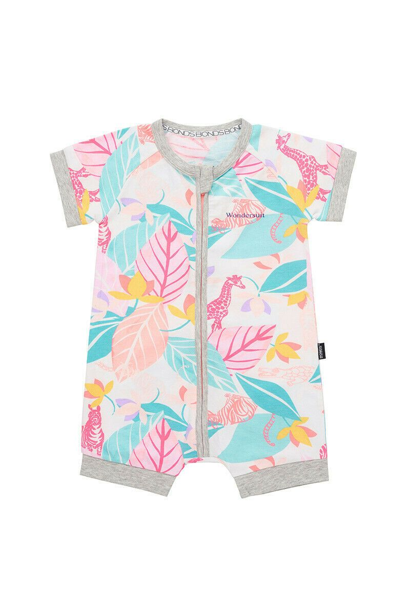 Bonds Baby Short Sleeve Zip Wondersuit Romper sizes 0000 000 0 1 Colour White