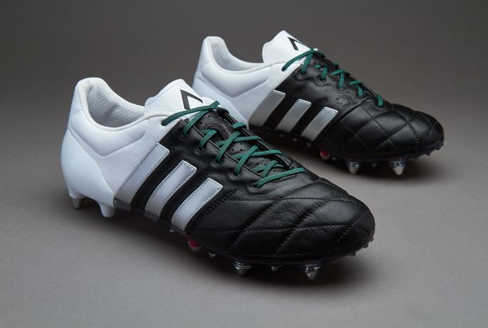 adidas ACE 15.1 SG Leather - Mens Boots - Soft Ground - Core Black/Matte  Silver/White