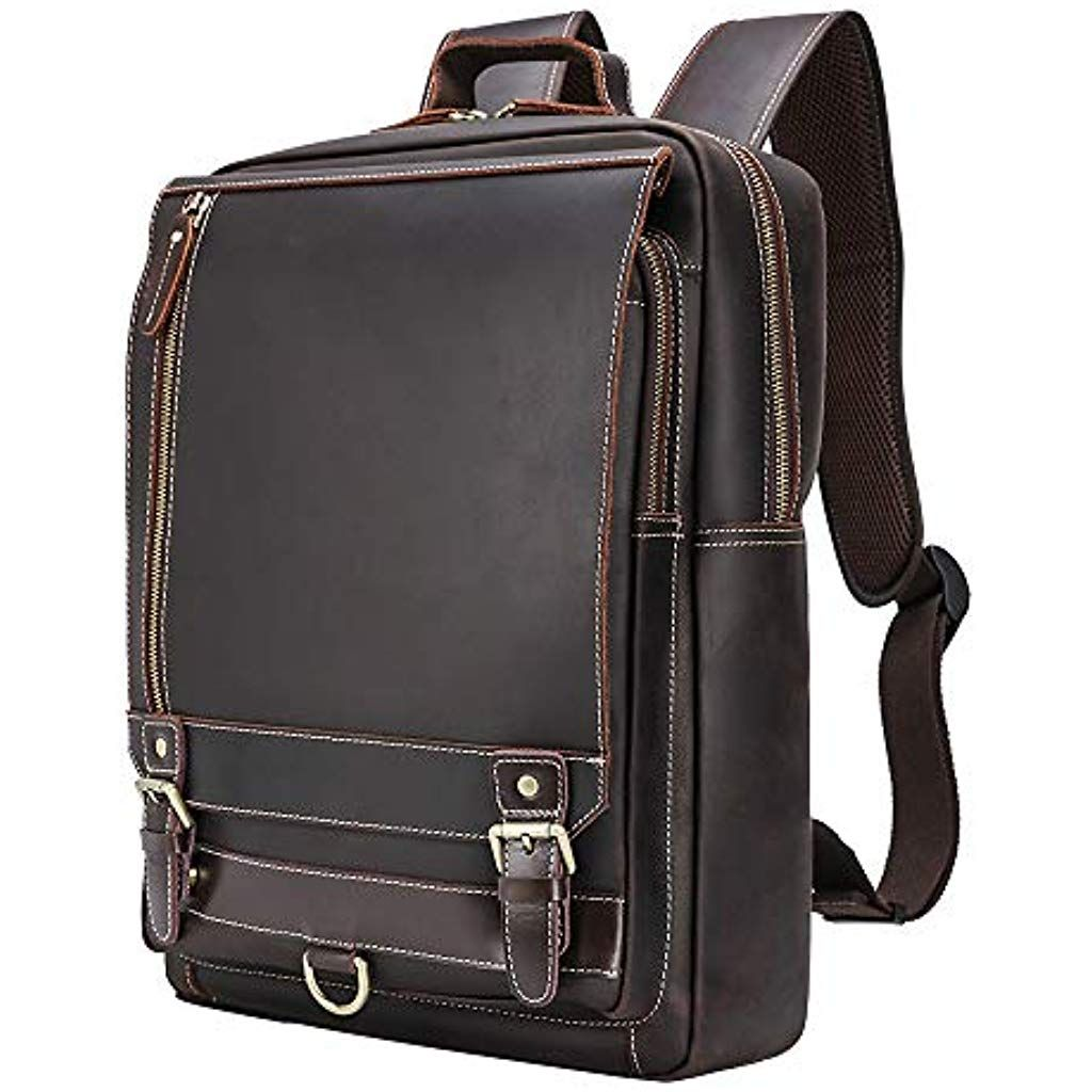 "Leather backpack bag 15/"" Laptop rucksack college school shoulder travel handbag"