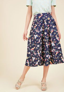 Off in My Own Whirl Midi Skirt in Birds