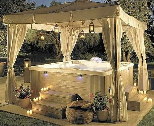 great for a non-built in spa. Temporary though. Needs a gazebo or pergola - 270708627572138467_egb7lQuG_f In 2018 Outdoor Living Pinterest