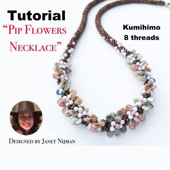 Kumihimo 8 threads pattern tutorial Pip flowers necklace | Arte en ...