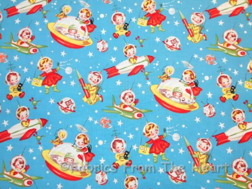 Retro Rocket Rascals Vintage Spaceships Michael Miller by Yards Cotton Fabric | eBay