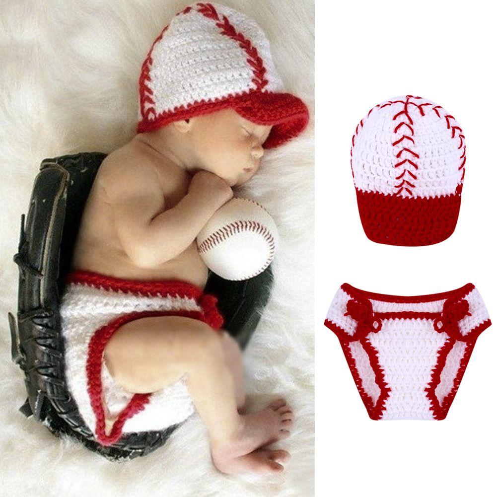 6ed5d00a67217 Newborn Photography Props Handmade Baby Boys Girls Crochet Knitted Baseball  Hat+Pants 2pcs Set Outfit Infant Clothes Accessories  Affiliate