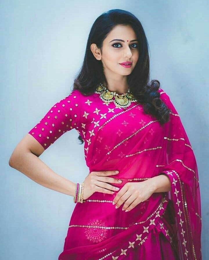 Koncham Touch Lo Vunte Chepta Beautiful Pink Lehenga Indian Celebrities Rakul Preet Singh Saree Beautiful Saree