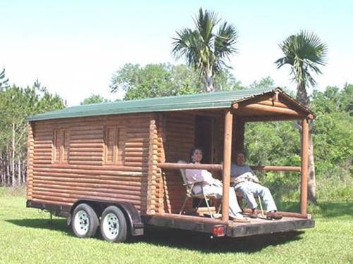Attirant Log Cabin Trailer Camper Concession Stand Real Logs. $6500