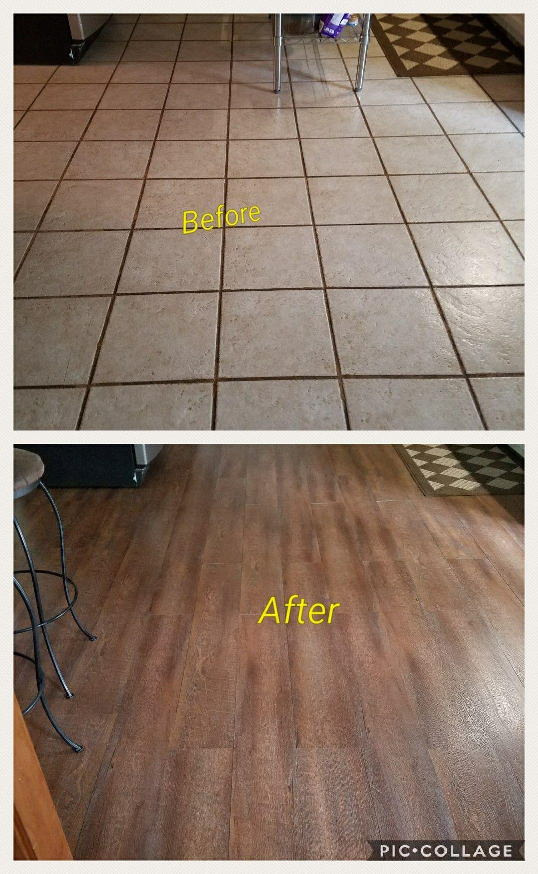We Put Down Vinyl Plank Flooring Over Tile We Did Use A Bag Of Self Leve Vinyl Plank Flooring Luxury Vinyl Plank Flooring Kitchen Vinyl Plank Flooring Kitchen