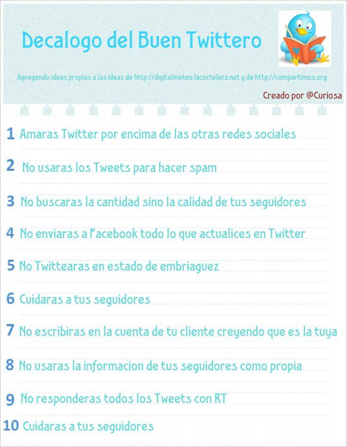 Decálogo Del Buen Tuitero Infografia Infographic Socialmedia Tics Y Formación Social Media Social Infographic