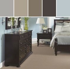 Blue Walls Black Furniture Google Search Bedroom Decor Design Home Decor Bedroom Paint Colors Master