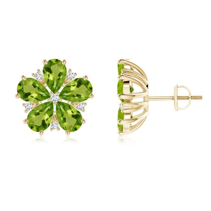 Angara Pear-Shaped Peridot and Diamond Flower Stud Earrings mZF3jdNrII