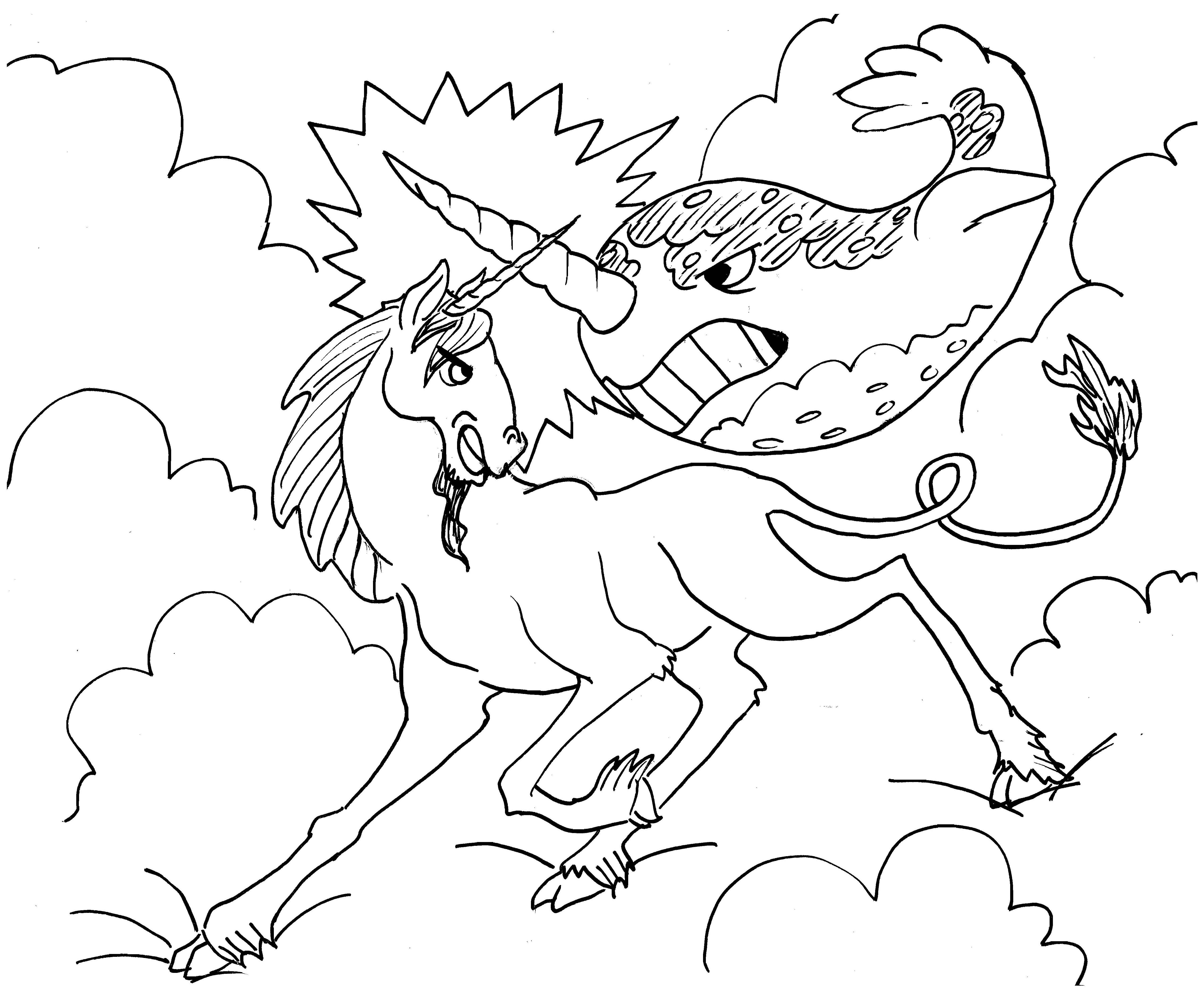 20100426UnicornVsNarwhal Unicorn coloring pages