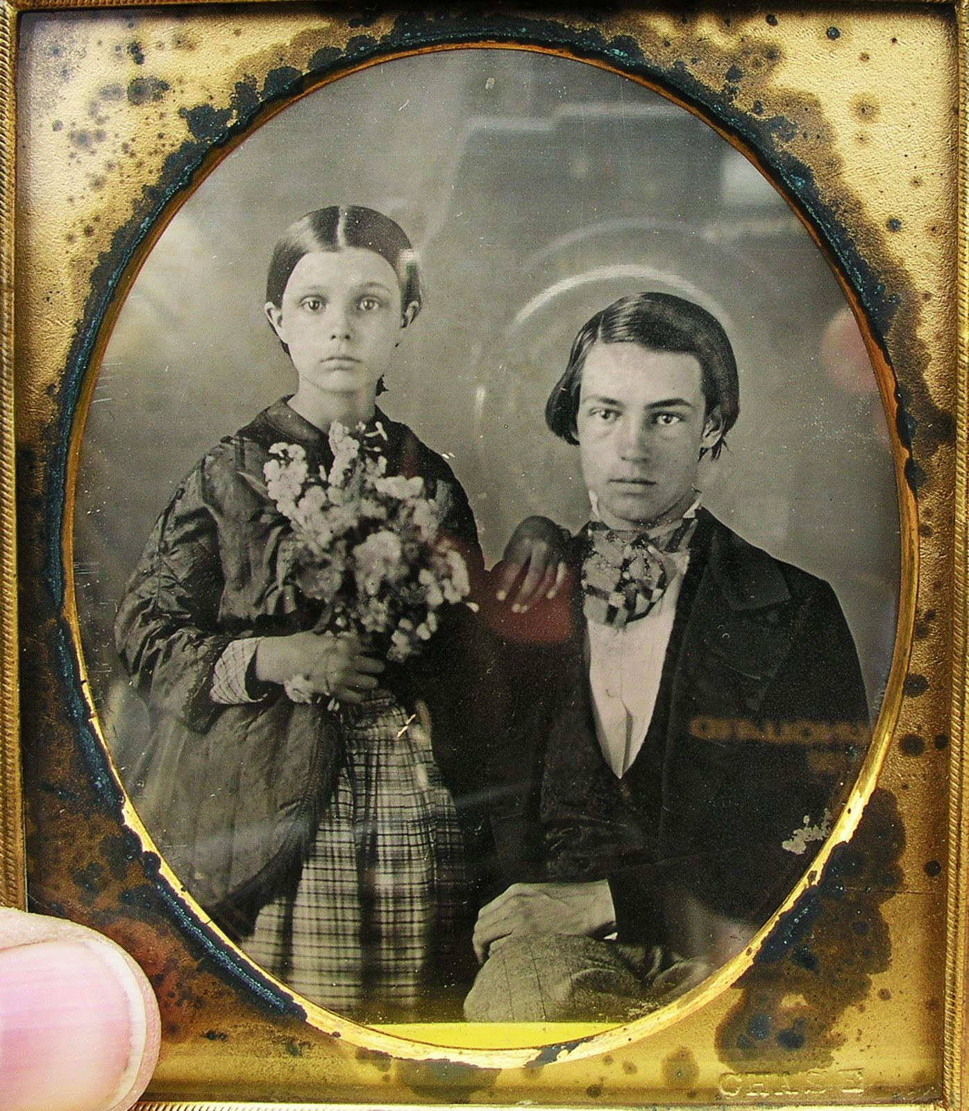 6th Plate 1850s Daguerreotype Siblings Girl Holds Bouquet of Flowers Resealed | eBay