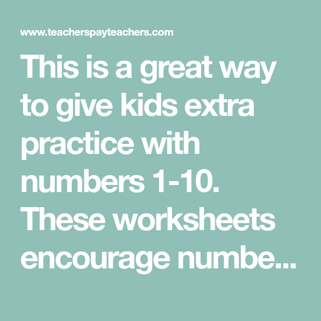 This is a great way to give kids extra practice with numbers 1-10 ...