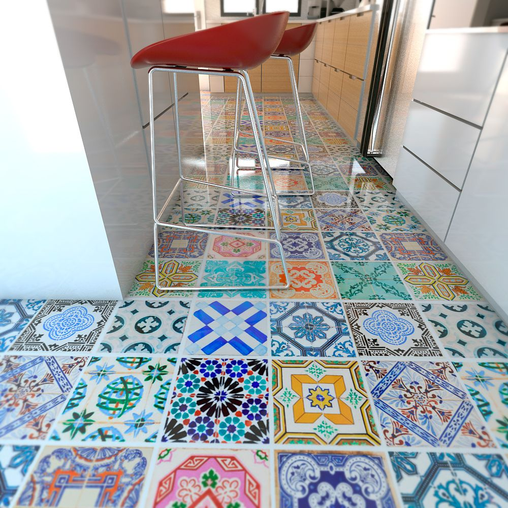 Traditional Spanish Floor Tiles Decals (Pack of 32 ...