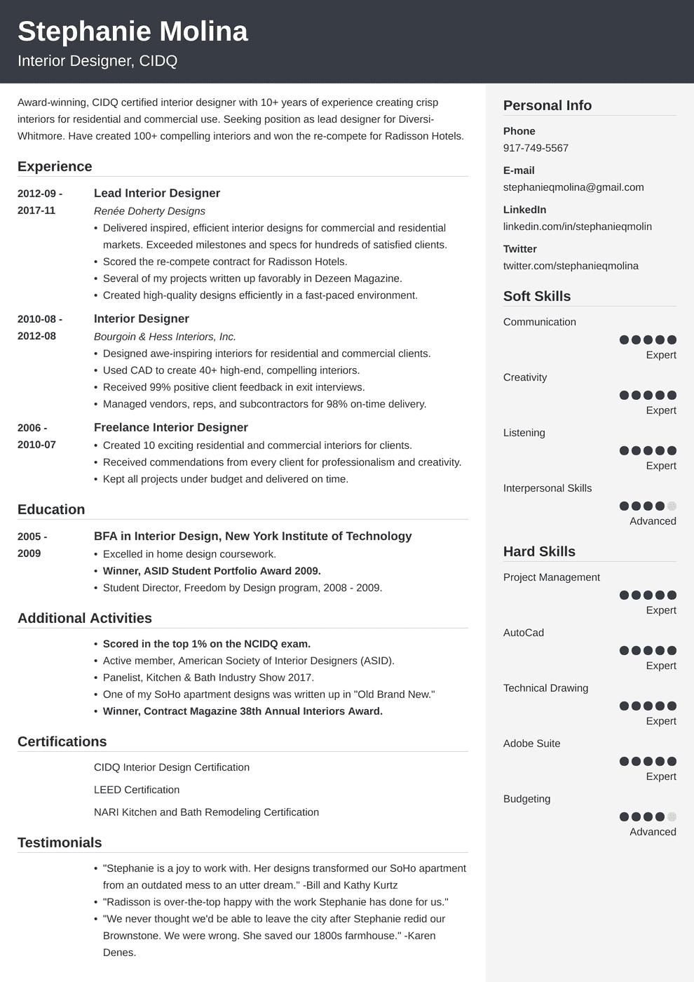interior design resume template cubic in 2020 Resume