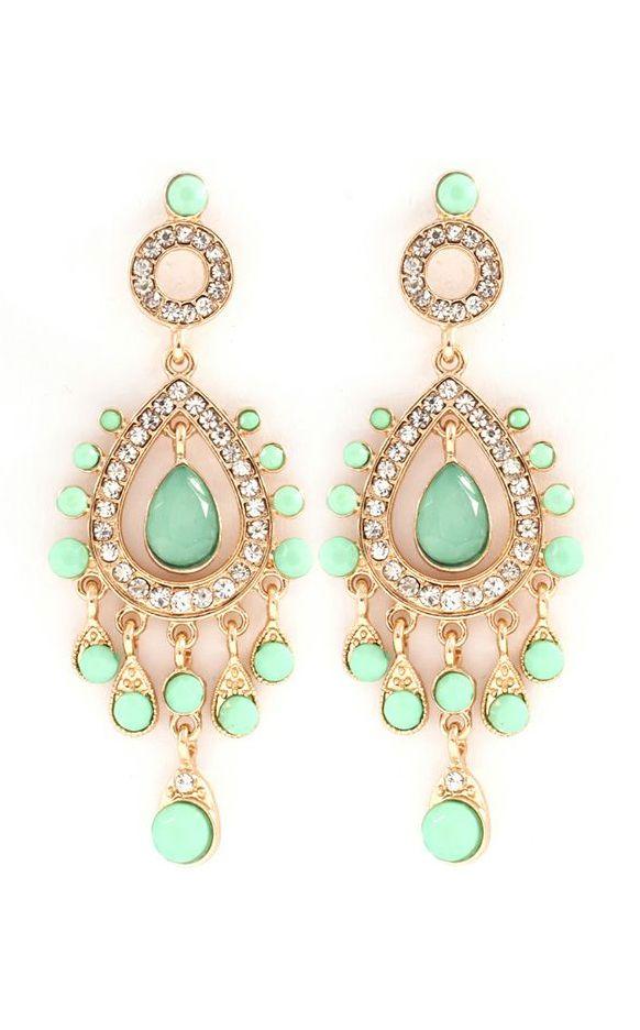 Mint chandelier earrings   Shiny   Pinterest   Chandelier earrings ...