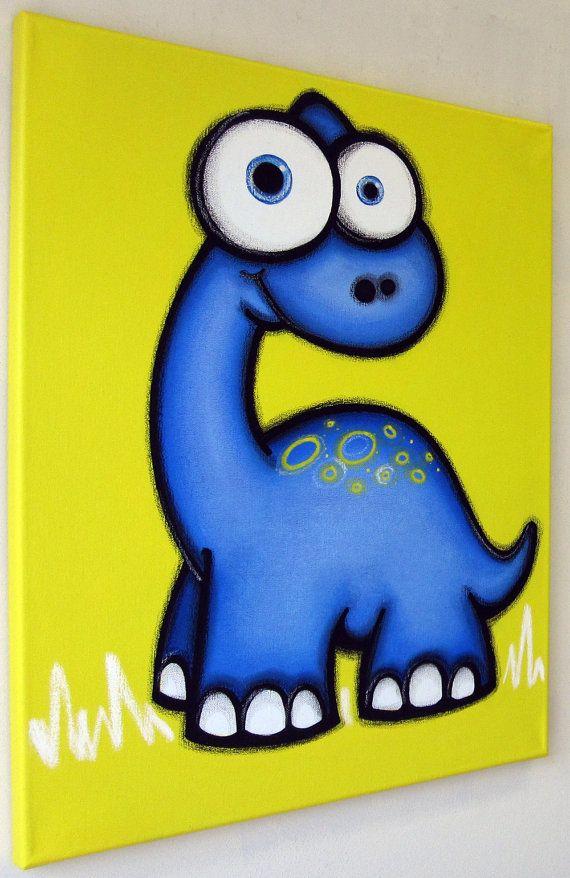 bLUe dINOSaUR - 16 x 20 pintura original, arte de dinosaurio sin hijos para la habitación o vivero de los niños, arte de la pared de dinosaurios