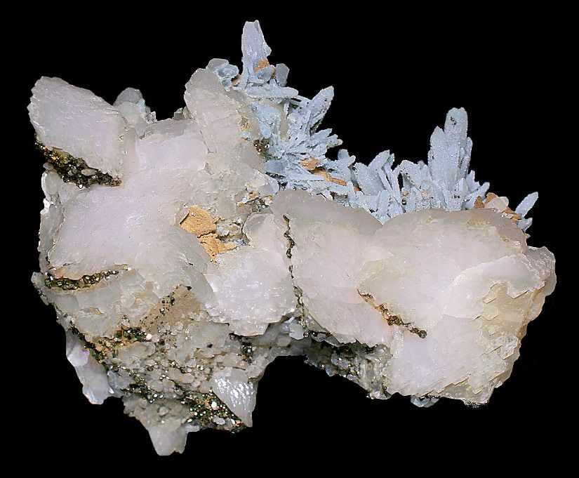 Unique specimen featuring a crystal display of Blue Quartz on Calcite with Pyrite