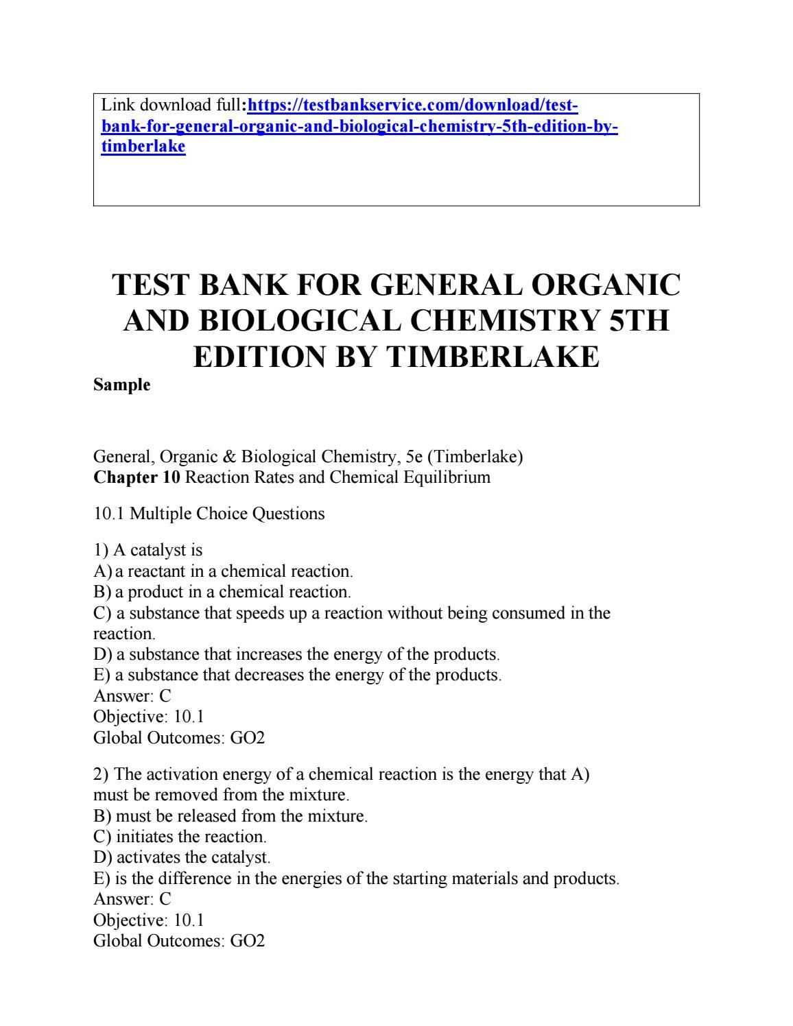 General Chemistry 2 Test Bank